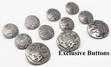 Silver Metal Blazer Buttons Set - Lion & Unicorn