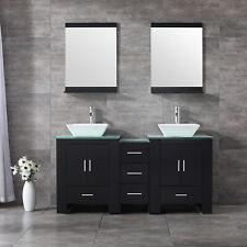 """Modern 60"""" Double Ceramic Sink Bathroom Vanity Cabinet Wood Top w/Mirror Black"""