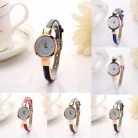 Hot Women's Fashion Round Case Leather Band Quartz Analog Bracelet Wrist watch