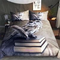 Pen Owl Quilt Duvet Doona Cover Set Single/Double/Queen/King Size Bed Linen