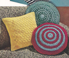 Vintage Crochet PATTERN Pillow Covers Round Square