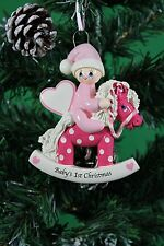 Personalised Baby's 1st Christmas tree Ornament - Baby Girl on Pink Rocking Pony