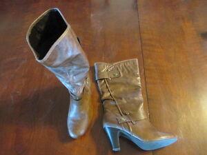 A.N.A. women's Brown Mid Calf Boots  8 M 023-7200 19963-8 heels hi top