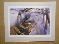 David Shepherd Steam Train print 'Over The Forth' Bridge MOUNTED