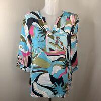 GERRY WEBER • Multicoloured Abstract Linen Linen Blouse • Size 12 • RRP £90