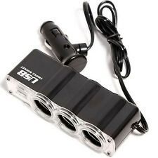 AUTO DECORATIVE ACCESSORIES 3Ways Car Cigarette Lighter Socket Splitter&USB Port
