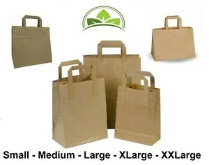 Paper Bags Brown Kraft SOS Carrier Bags Flat Handle - All Sizes