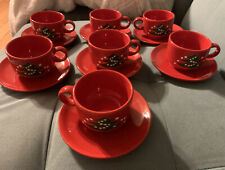 Waechtersbach Christmas Tree Cups And Saucers Red Set Of 7
