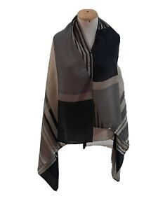 UNBRANDED STRIPED BEIGE SHAWL LINEN Scarf 58/36 In #A59