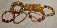 VINTAGE TO NOW ASSORTED AMBER YELLOW GLASS STONE & LUCITE BEADED BRACELET LOT