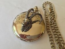 A51 Ibex Head  polished silver case mens GIFT quartz pocket watch fob