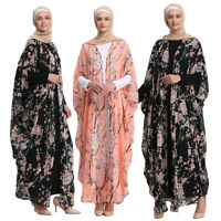 Women Flower Print Chiffon Open Cardigan Islamic Irregular Abaya Long Maxi Dress