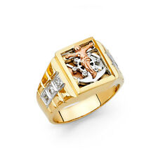 Cross Ring 14k Yellow Gold Religious Fashion Band