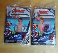 Avengers  3-D inflatable set arm floats and beach ball  ages 3-5 Disney!!
