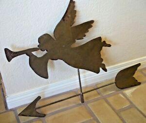 "WROUGHT METAL RUSTIC rusty steel GABRIEL ANGEL WEATHERVANE FOLK ART 25"" X 20"""