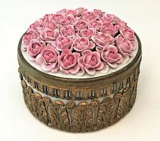 Antique Ormolu Porcelain German Elfinware Rose Encrusted Casket Dresser Box