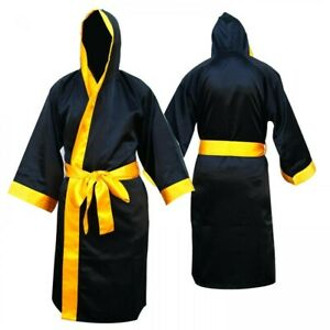 Satin Boxing Robe with Hood - Black/Gold