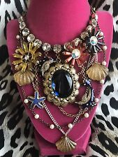 Betsey Johnson Vintage Mermaid's Tale HUGE Dolphin Sea Urchin Clam Necklace RARE