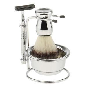 Mens Shaving Grooming Kit Beard Wet Shave Set Brush Safety Razor Bowl Stand