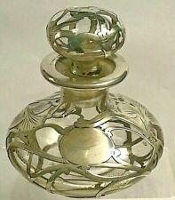 Antique Art Nouveau Sterling Silver Overlay Alvin Glass Perfume Bottle
