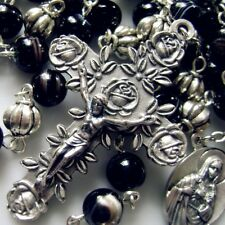 SILVER ROSARY BEADS & BLACK Agate bead ROSARY CROSS CATHOLIC NECKLACE CRUCIFIX