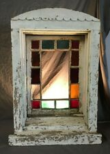 Antique Stained Glass Window with Casing Shabby Vintage Chic 257-19C