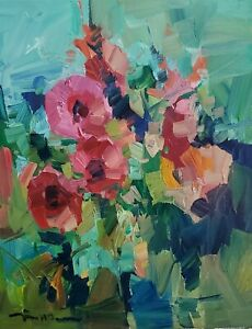 JOSE TRUJILLO Oil Painting IMPRESSIONISM 16x20 COLLECTIBLE GARDEN FLOWERS NR