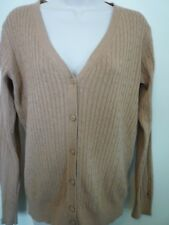 New Tommy Hilfiger Womens large tan thin cable knit cardigan v-neck sweater
