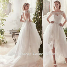 Boho High-Low Wedding Dress Classic Appliques Lace Tulle Wedding Gowns Custom
