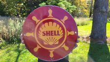 OLD VINTAGE SHELL MOTOR OIL PORCELAIN GAS STATION PUMP GASOLINE SIGN