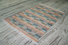 4x6 Kilim Rug Block Print Cotton Floral Print Carpet Rug Indian Design Dhurrie