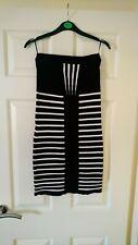 River Island Sexy Black White Striped Bandage Knit Dress 10 Summer Holiday Beach