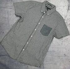 Forever 21 Men's Plaid Black White Button Down Short Sleeve Small S