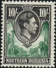 Northern Rhodesia 1938 KGVI  10/- Green & Black  SG.43 Mint (Hinged)  Cat:£30