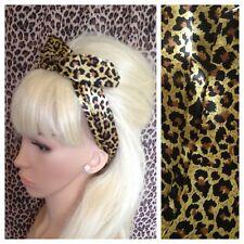 Leopardo Animal Print Satén BENDY WIRE diadema Con Cable Envoltura de cabello 50s Retro Pin Up