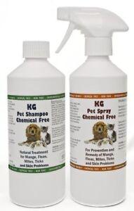 KG Wash & Go Pet Shampoo 500 ml & Spray 500 ml for Mange, Fleas & Skin Problems