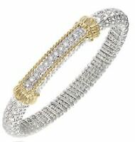 Alwand Vahan 8mm Band Bracelet 0.18cttw ~ 14K & Sterling Silver ~ NEW WITH TAGS