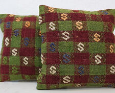 """EMBROIDERED PILLOW CUSHION COVER Decorative Vintage Throw 12"""" Pair,Green Pillows"""