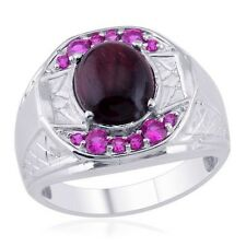 Red Tigers Eye & Simulated Ruby Ring In Platinum Bond Size W