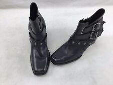 Harley Davidson Black Leather Side Zip Booties Size 10M  F4575/
