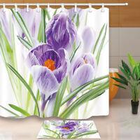 Lavender Flower Green Leaves Bathroom Fabric Shower Curtain & 12 Hooks 71*71inch