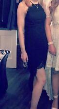 Ladies Glamorous Black Floral Lace Dress Lace Up Back And Gradual Hem Size XS