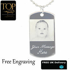 Personalised Engraved Photo Name Necklace Jewellery Silver Plated Army Dog Tag