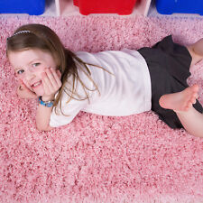 """Fluffy Soft Shaggy Thick Pile Cheap Living Room Bedroom Kids Rug Non Shed 110x160cm (3'7""""x5'3"""") Baby Pink"""