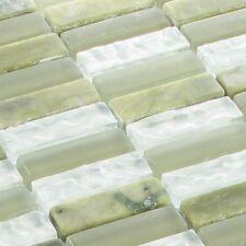 Mosaicos DE VIDRIO AZULEJOS Piedra Natural cristal verde 1,5 x 5cm estera