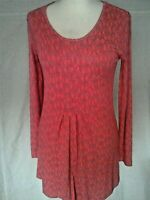 Adini Viscose Lycra tunic scoop neck semi fitted long sleeves pleated front