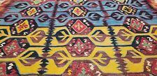 "Early 1900's Antique 5'4""x12'7"" Natural Dyes, Wool Kilim from Hotamis Region"
