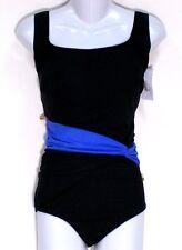 NWT Great Lengths Tummy Control Black & Blue 1 Pc Bathing Suit Swimsuit 18W Plus