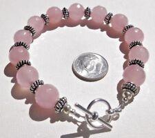 Chunky 10mm Faceted Pink Jade & Silver Toggle Bracelet ~*Sundance Artisan*~