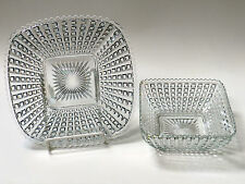 Vintage Imperial Monticello Waffle Block 2-Piece Matching Square Plate and Bowl